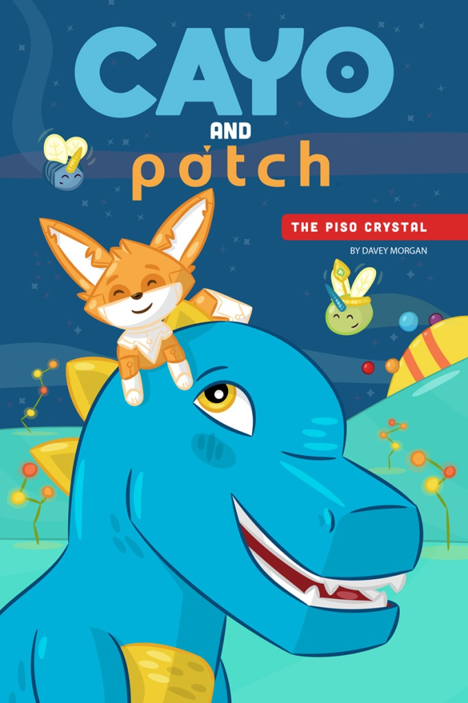 cayo and patch cover. fox atop a smiling t-rex.
